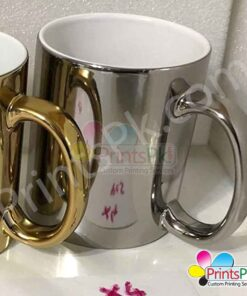 High gloss silver picture mug