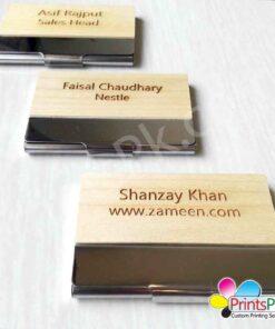 Name Engraved Wooden Cards Holder